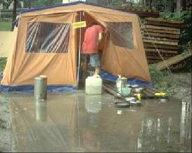 Base Camp mess tent in the rain, 1994